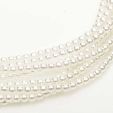 Bright White Shiny 2mm Glass Pearls, Approx 150 Beads