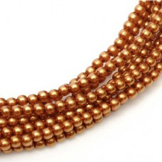 Copper Shiny 2mm Glass Pearls, Approx 150 Beads