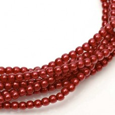 Falu (Red) Shiny 2mm Glass Pearls, Approx 150 Beads