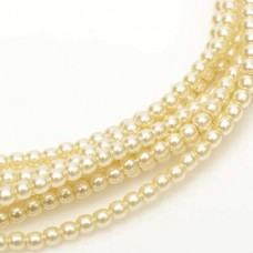 Ivory Shiny 2mm Glass Pearls, Approx 150 Beads