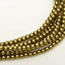 Old Golden Green Shiny 2mm Glass Pearls, Approx. 150 Beads