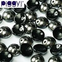 Jet Chrome Piggy Beads - Pack of 30