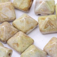 12mm Twin Hole Pyramid Beads, Alabaster Stone, Pack of 5
