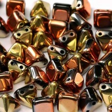 6mm Twin Hole Pyramid Beads, Jet California Gold Rush, Pack of 25