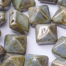 Bulk Bag 12mm Twin Hole Pyramid Beads, Alabaster Blue, Pack of 25