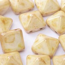 Bulk Bag 12mm Twin Hole Pyramid Beads, Alabaster Cream, Pack of 25