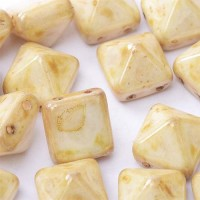 12mm Twin Hole Pyramid Beads, Alabaster Marble, Pack of 5