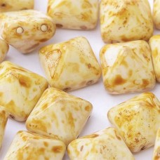12mm Twin Hole Pyramid Beads, Alabaster Travertin, Pack of 5