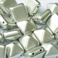 12mm Twin Hole Pyramid Beads, Aluminium Silver, Pack of 5