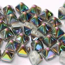 Bulk Bag 6mm Twin Hole Pyramid Beads, Crystal Vitrail, Pack of 100