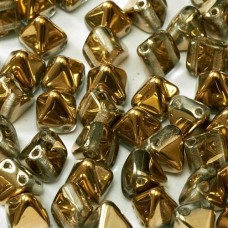 6mm Twin Hole Pyramid Beads, Crystal Amber, Pack of 25