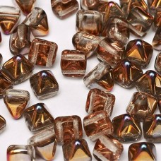 6mm Twin Hole Pyramid Beads, Crystal Sliperit, Pack of 25