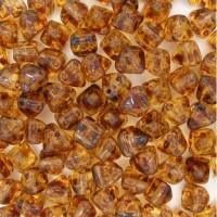 Bulk Bag 6mm Twin Hole Pyramid Beads, Crystal Travertin, Pack of 100