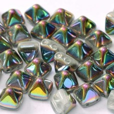 6mm Twin Hole Pyramid Beads, Crystal Vitrail, Pack of 25