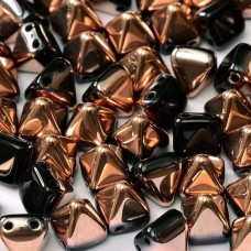 Bulk Bag 6mm Twin Hole Pyramid Beads, Jet Capri Gold, Pack of 100