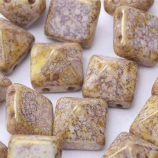 Bulk Bag 12mm Twin Hole Pyramid Beads, Lila Gold Luster, Pack of 25