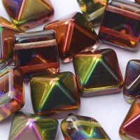 Crystal Magic Apple 12mm Twin-Hole Pyramid Bead - pack of 5 Beads