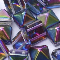 12mm Twin Hole Pyramid Beads, Crystal Magic Blue, Pack of 5