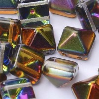 12mm Twin Hole Pyramid Beads, Crystal Magic Copper, Pack of 5