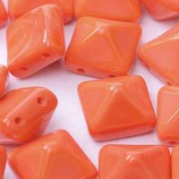 Bulk Bag 12mm Twin Hole Pyramid Beads, Opaque Orange, Pack of 25