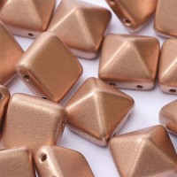 12mm Twin Hole Pyramid Beads, Vintage Copper, Pack of 5