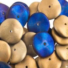 Preciosa 12mm Ripple Beads California Blue Matt, 20 beads