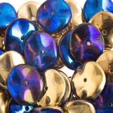 Preciosa 12mm Ripple Beads California Blue, 20 beads