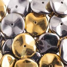 Preciosa 12mm Ripple Beads California Graphite, 20 beads