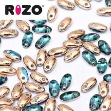 Aqua Capri Gold Rizo Beads approx. 20gm