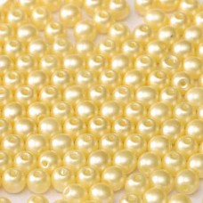2mm Round Czech Glass Beads, Pack of 100, Alabaster Pastel Cream