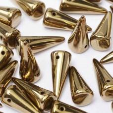 Jet Gold  7x17mm Glass Spikes, 10pcs