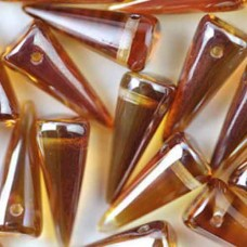 Crystal Dark Apricot 7x17mm Glass Spikes, 10pcs