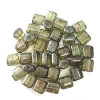 8mm Czech Glass Tube Bead, Lumi Green, Pack of 10