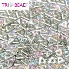 Bulk Bag Tri-bead 4mm Crystal Silver Rainbow, 50gm