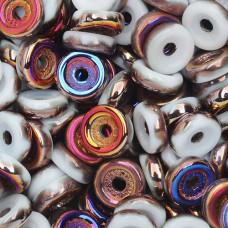 Chalk White Sliperit  6mm Wheel Beads Approx 5gm