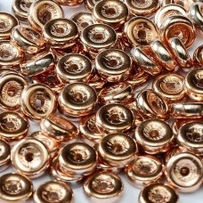 Chalk White Capri Gold  6mm Wheel Beads Approx 5gm