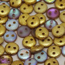 Golden Rainbow 6mm Etched 2-Hole Lentils, pack of 30 beads