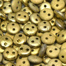 Amber Full 6mm Etched 2-Hole Lentils, pack of 30 beads