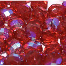 8mm Czech Fire Polished Beads, Ruby AB, 20 Beads