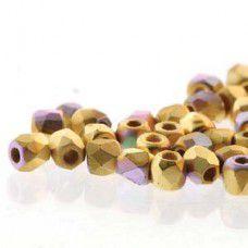Matte 24kT Brush Gold Plated AB 2mm Firepolished Beads, 75pcs