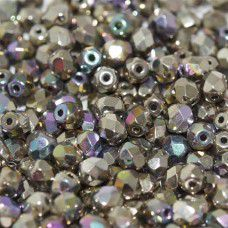 Glittery Argentic 4mm Crystal etched firepolished beads, pack of 120pcs