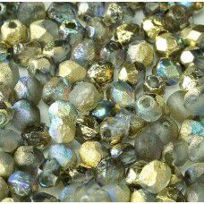 Golden Rainbow 4mm Crystal etched firepolished beads, pack of 120pcs