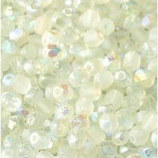 Green Rainbow 4mm Crystal etched firepolished beads, pack of 120pcs