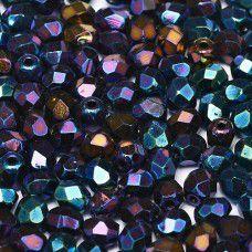 Jet Blue Iris  3mm Firepolished Beads, Pack of 120pcs