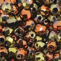 Jet California Gold Rush 4mm fire polished beads, pack of 120pcs