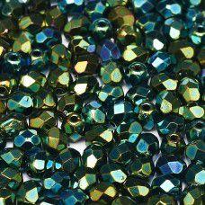 Jet Green Iris  3mm Firepolished Beads, Pack of 120pcs