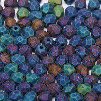 Jet Matted Blue Iris 4mm Firepolished beads, 50pcs