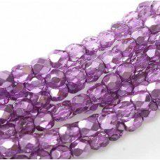 Purple Metallic Ice Fire polished 3mm , 120 pcs.