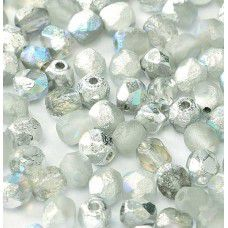 Silver Rainbow 4mm Crystal etched firepolished beads, pack of 120pcs