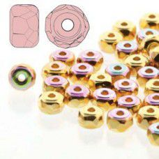 24kt Gold Plated AB 2 x 3mm Faceted Micro Spacers, Pack of 25pcs